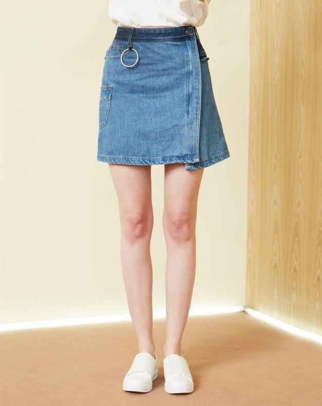 블루 짧은 치마 여성 A라인 드레스 스커트