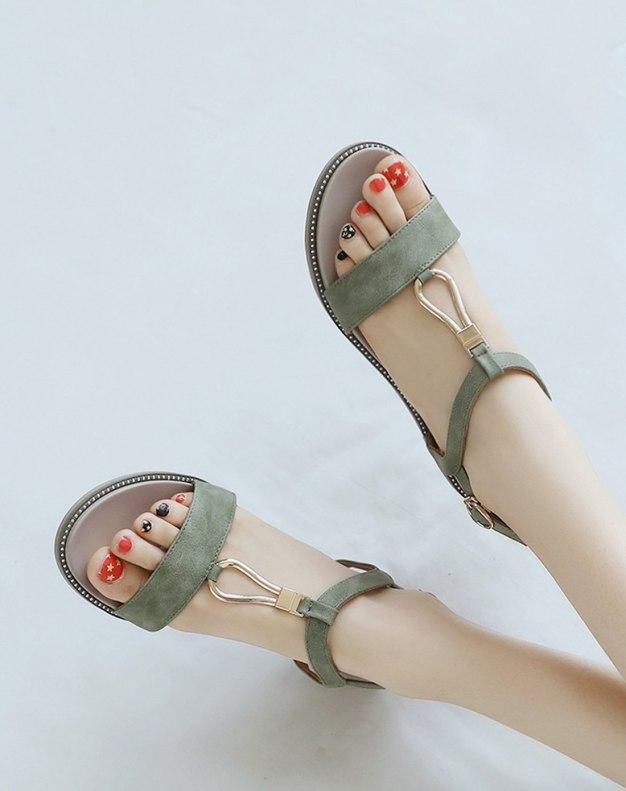 Green Flat Portable Women's Sandals
