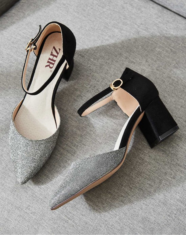 Silver Pointed Middle Heel Heighten Women's Sandals