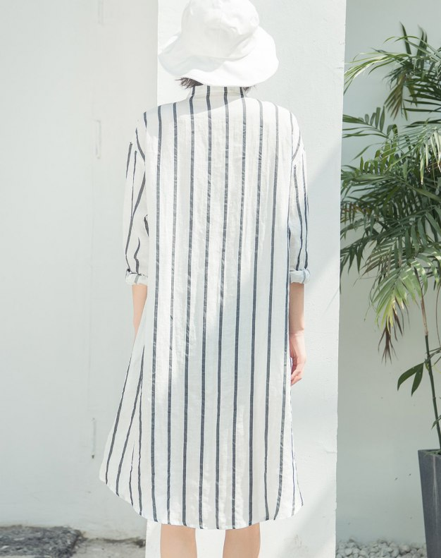 White Stand Collar Cropped Sleeve 3/4 Length Women's Dress