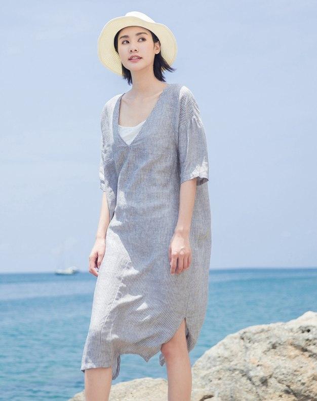 V Neck Short Sleeve Long Fitted Women's Dress