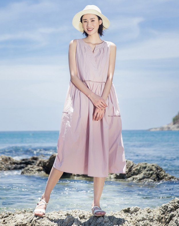 Pink V Neck Sleeveless Long Fitted Women's Dress