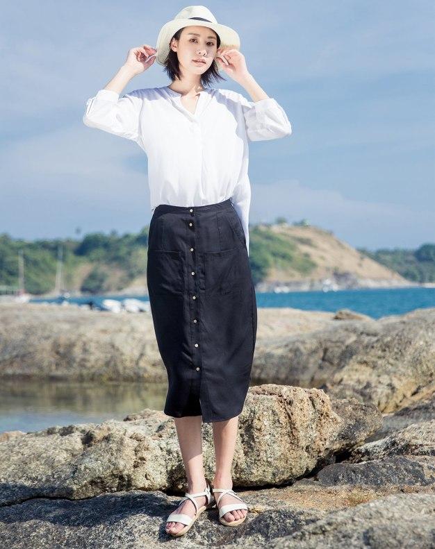 Black 3/4 Length Women's Skirt
