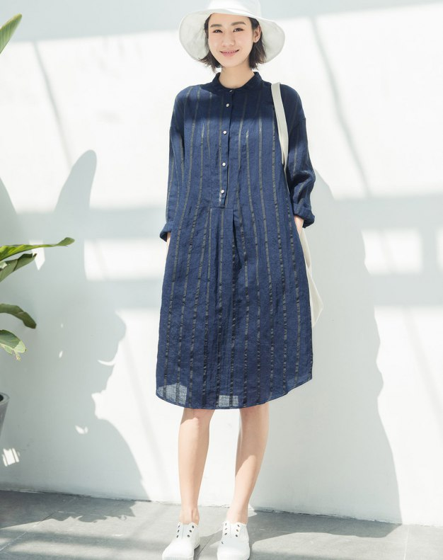 Indigo Stand Collar Cropped Sleeve 3/4 Length Women's Dress