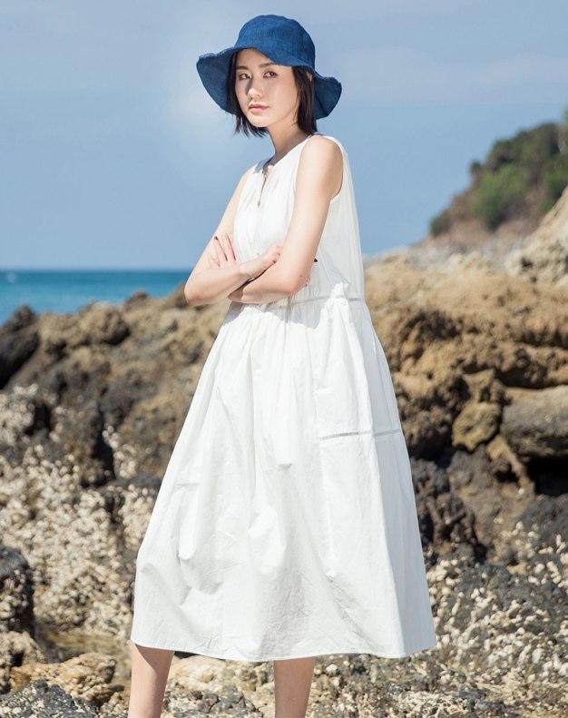 White V Neck Sleeveless Long Fitted Women's Dress