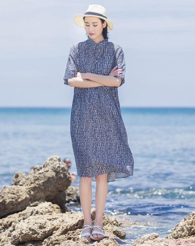 Blue Shirt Collar Short Sleeve 3/4 Length Loose Women's Dress