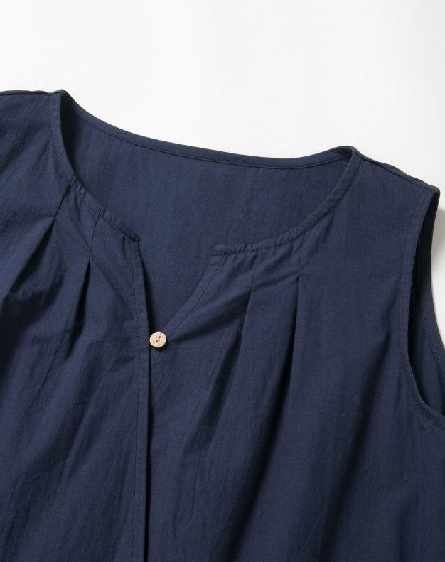 Indigo V Neck Sleeveless Long Fitted Women's Dress