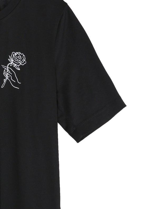 블랙 꽃 반팔 슬랙스 여성 티셔츠