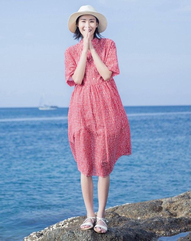 Red Shirt Collar Short Sleeve 3/4 Length Loose Women's Dress