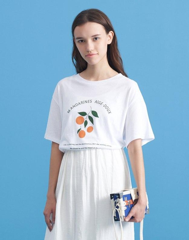 White Round Neck Short Sleeve Loose Women's T-Shirt