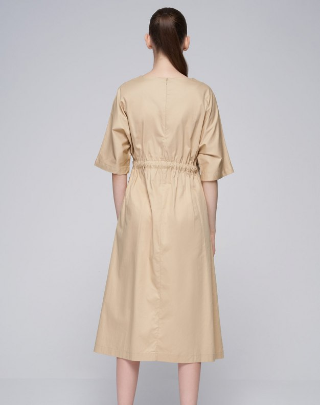Apricot Round Neck Short Sleeve 3/4 Length A Line Women's Dress