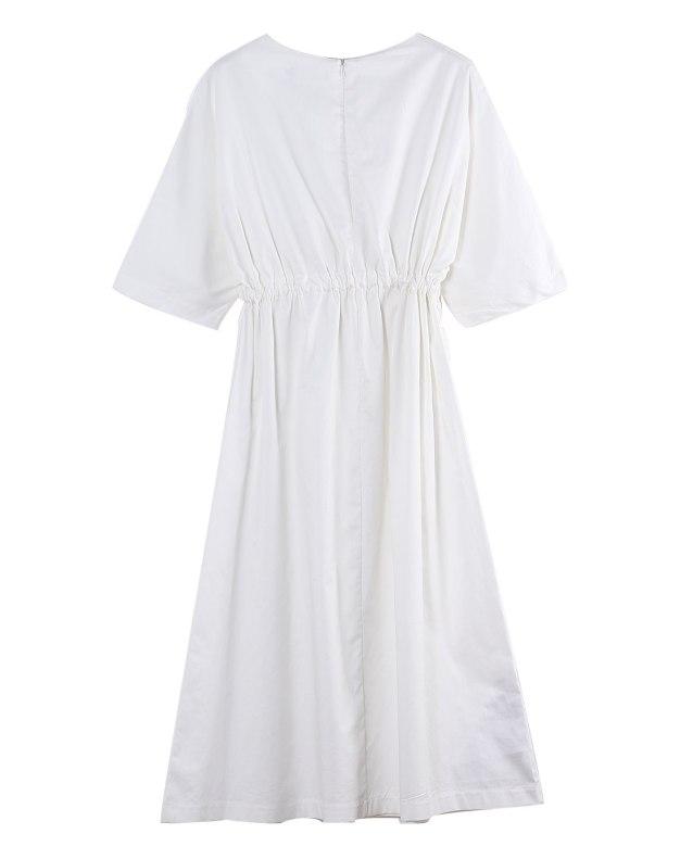 White Round Neck Short Sleeve 3/4 Length A Line Women's Dress