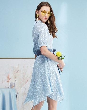 Blue Short Sleeve High Waist Women's Dress