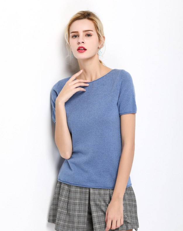 Plain Off Neckline Short Sleeve Fitted Women's T-Shirt