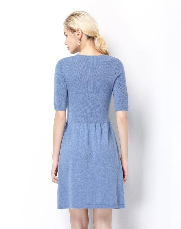 V Neck Half Sleeve High Waist 3/4 Length A Line Women's Dress