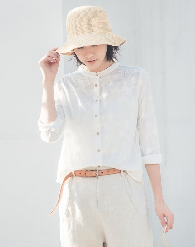 White Plain Stand Collar Long Sleeve Women's Shirt