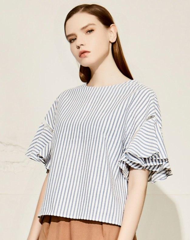 블루 줄무늬 반팔 티셔츠 표준 여성 블라우스