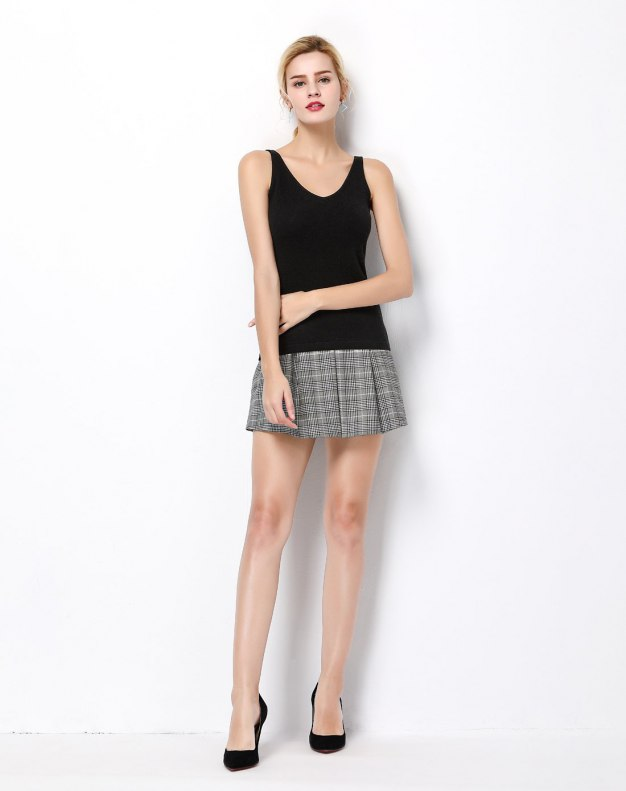 Black Cashmere Inelastic Camisoles