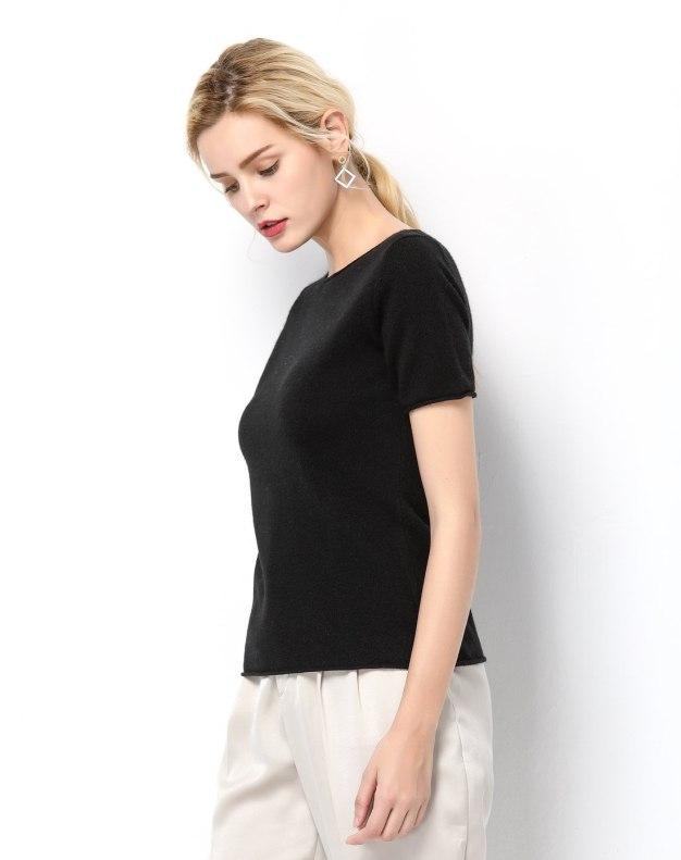 Black Plain Off Neckline Short Sleeve Fitted Women's T-Shirt