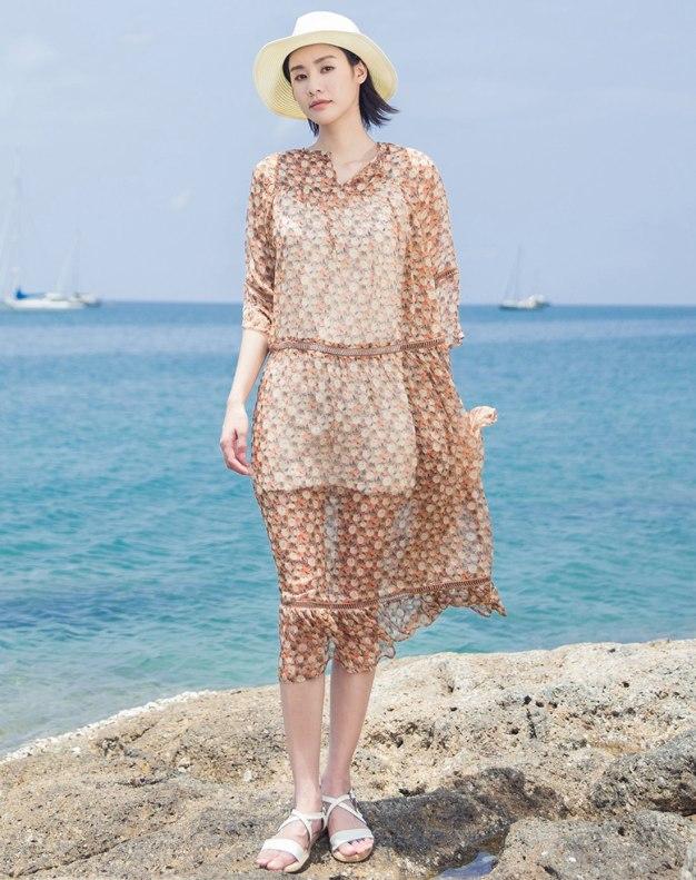 V Neck Half Sleeve Long Fitted Women's Dress