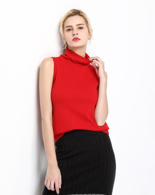Red Plain Cowl Neck Sleeveless Fitted Women's T-Shirt