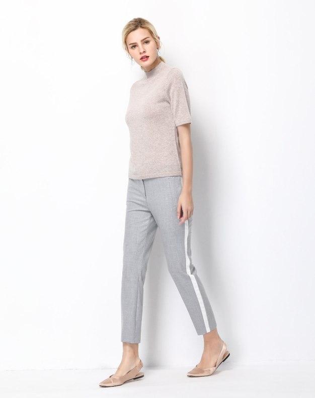 Plain High Collar Half Sleeve Fitted Women's T-Shirt