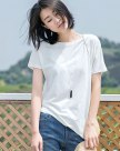 White Plain Round Neck Short Sleeve Fitted Women's T-Shirt