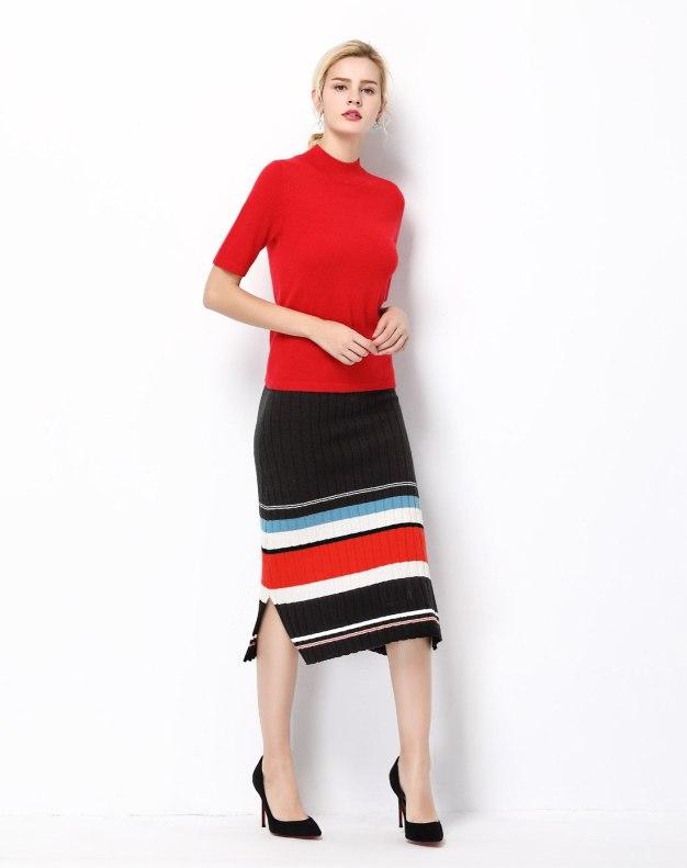 Red Plain High Collar Half Sleeve Fitted Women's T-Shirt