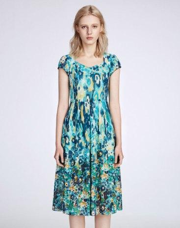 Blue Scoop Neck Short Sleeve 3/4 Length A Line Women's Dress