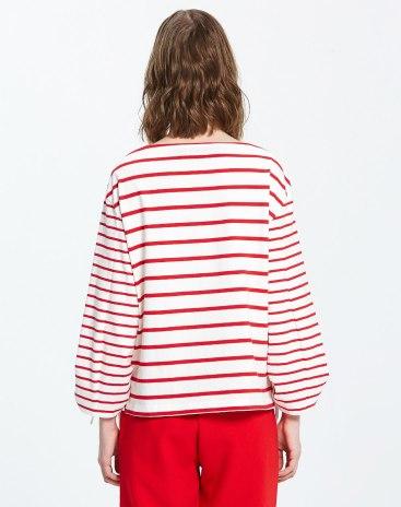 Red Stripes Off Neckline Long Sleeve Standard Women's T-Shirt