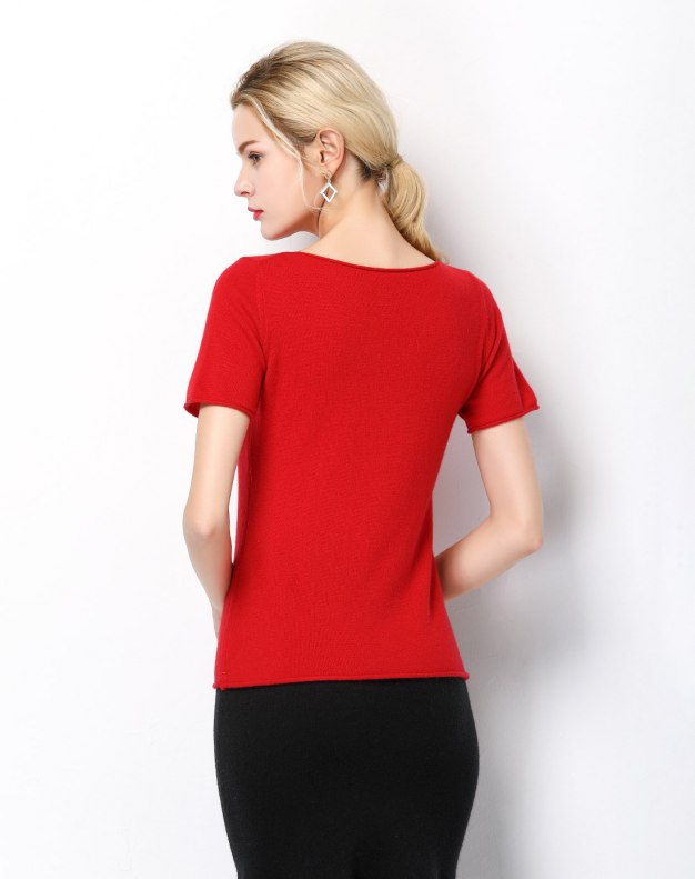 Red Plain Off Neckline Short Sleeve Fitted Women's T-Shirt