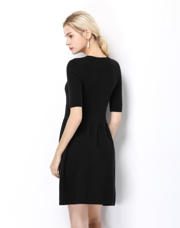 Black V Neck High Waist 3/4 Length A Line Women's Dress