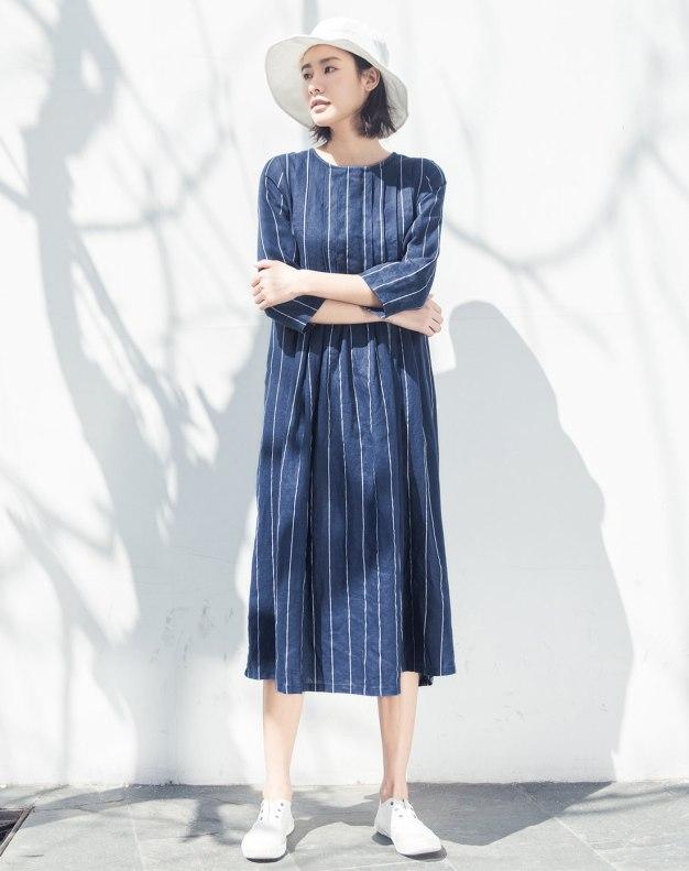 Indigo Round Neck 3/4 Sleeve Long Loose Women's Dress
