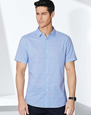 Plain Lapel Short Sleeve Fitted Men's Shirt