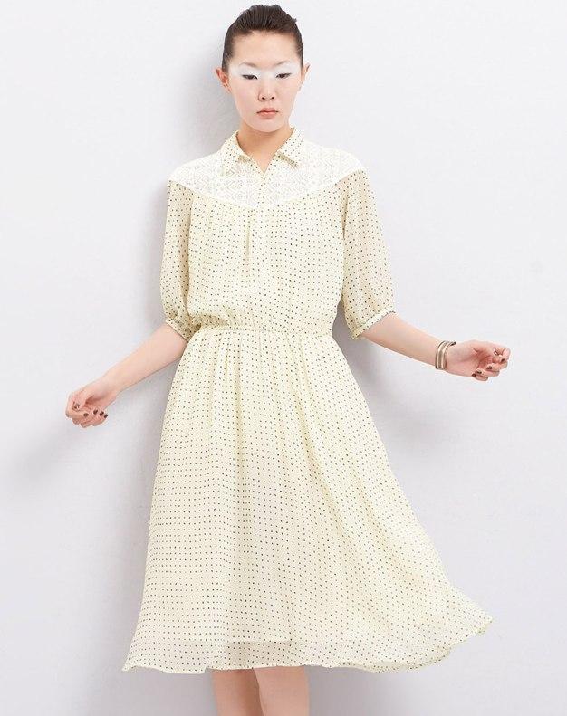 White Lapel Short Sleeve 3/4 Length A Line Loose Women's Dress