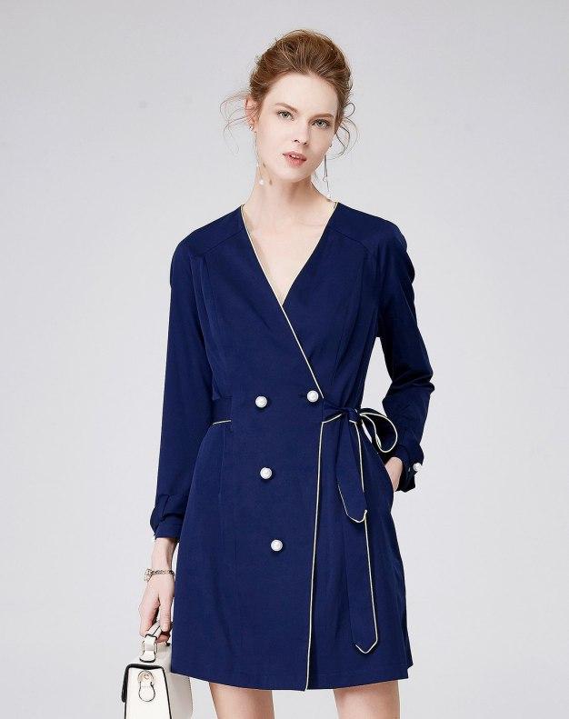 블루 긴소매 A라인 여성 드레스