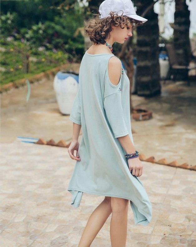 Green Round Neck 3/4 Sleeve Standard Women's Dress