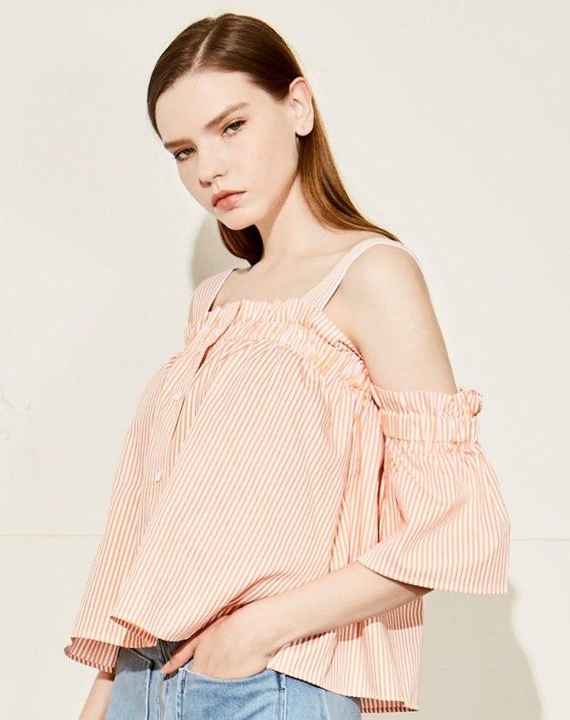 레드 줄무늬 반팔 티셔츠 표준 여성 블라우스