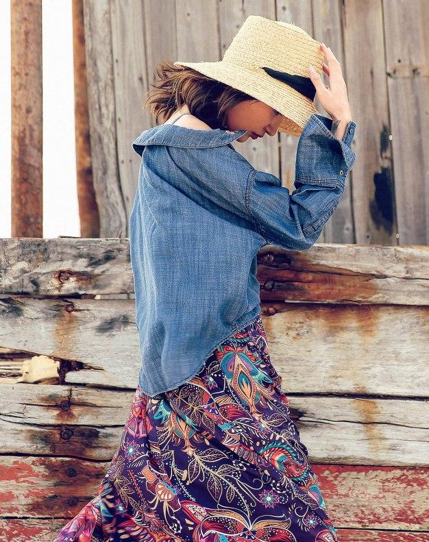 Blue Off Neckline Single Breasted Long Sleeve Women's Shirt