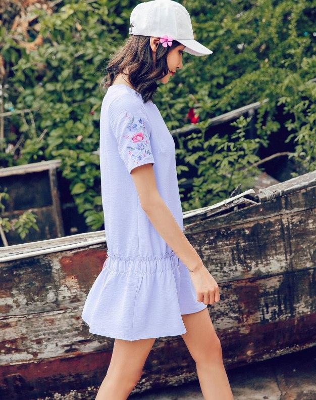 Blue Round Neck Sleeve Standard Women's Dress