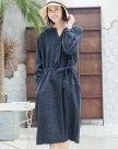 Blue V Neck Sleeve Long Fitted Women's Dress