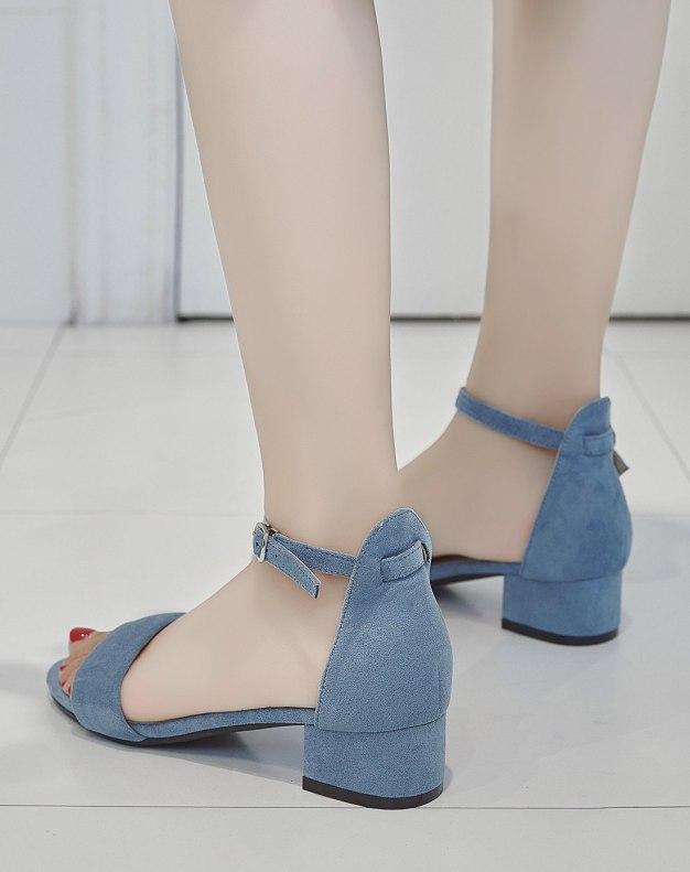 Blue Middle Heel Women's Sandals