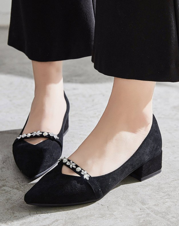 Black Pointed Middle Heel Anti Skidding Women's Pumps
