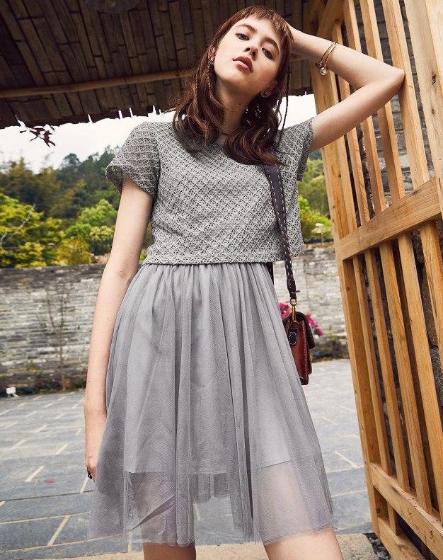 Gray Round Neck Sleeve Pleated Standard Women's Dress