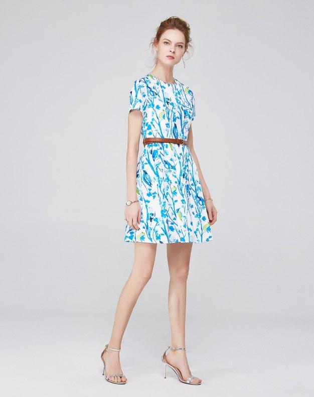 멀티컬러 반팔 티셔츠 A라인 스커트 여성 드레스