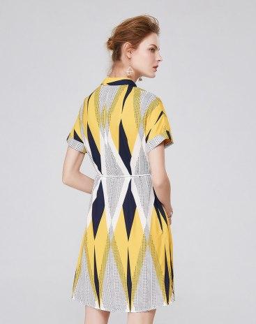 멀티컬러 반팔 티셔츠 A라인 여성 드레스