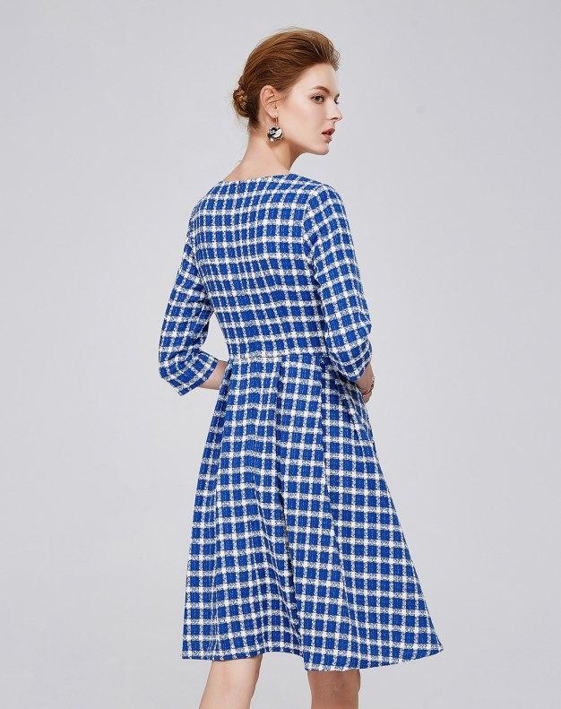 Others1 3/4소매 A라인 스커트 여성 드레스