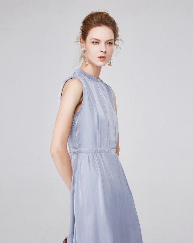 블루 민소매 A라인 스커트 여성 드레스