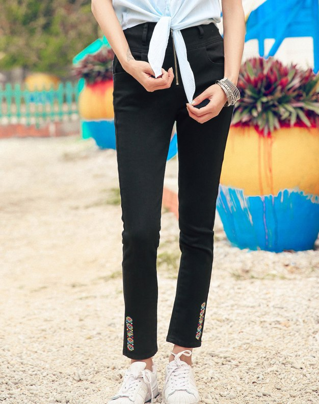 Black Embroidery Women's Jeans
