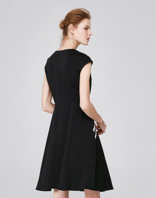 블랙 민소매 A라인 스커트 여성 드레스